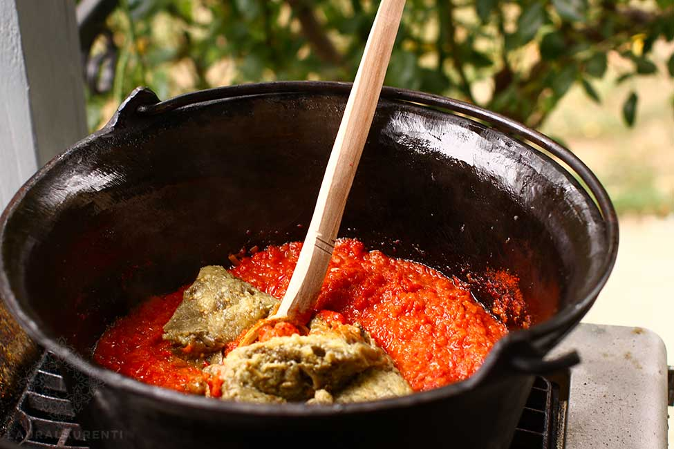 adding vegetables in the pot