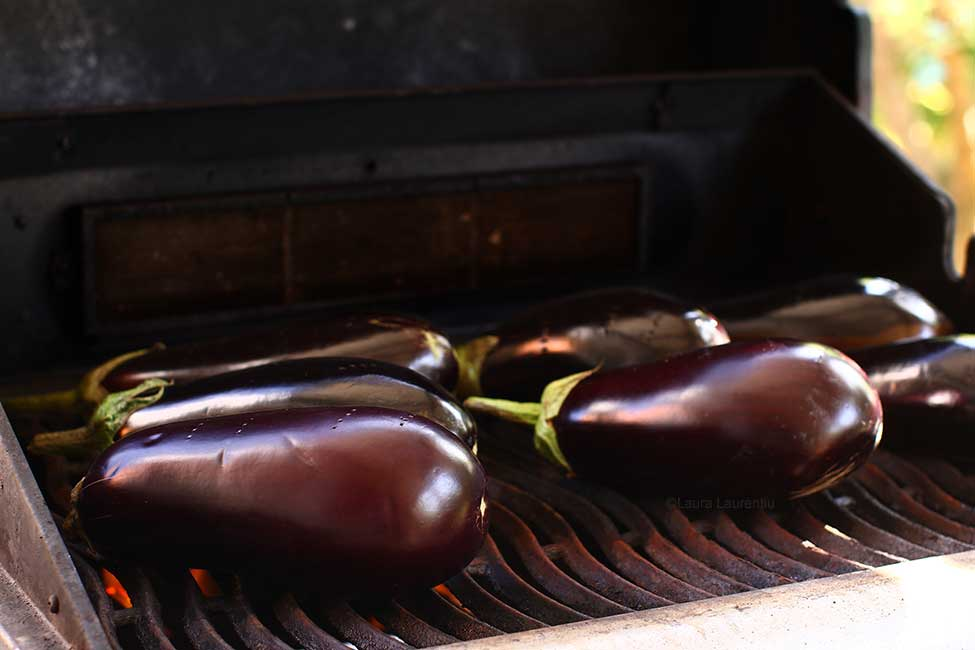 roasting aubergines on the grill