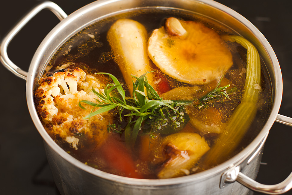 boiling a homemade stock