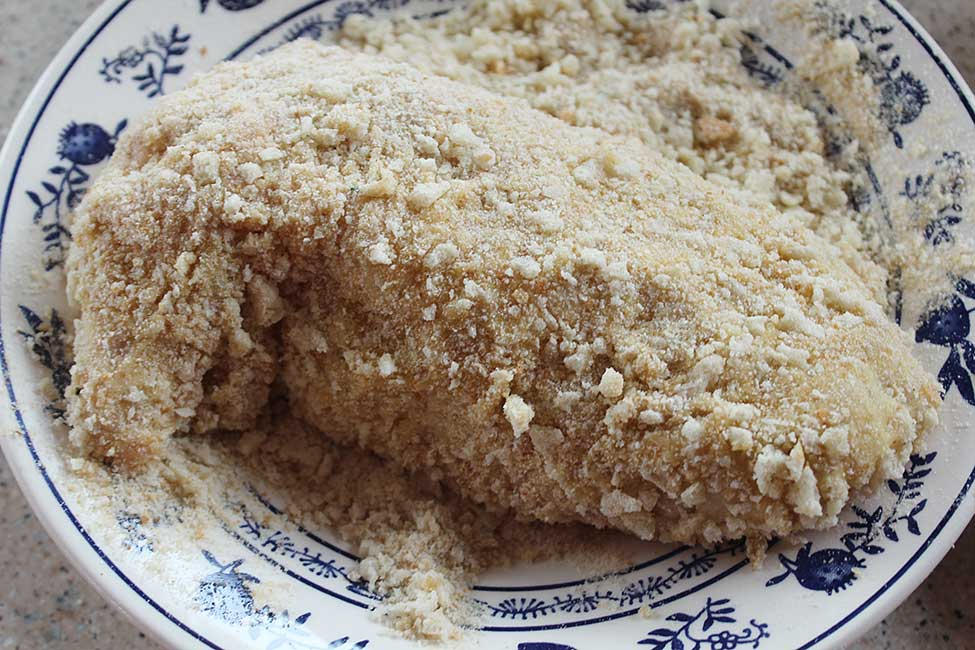 stuffed supreme coated with bread crumbs